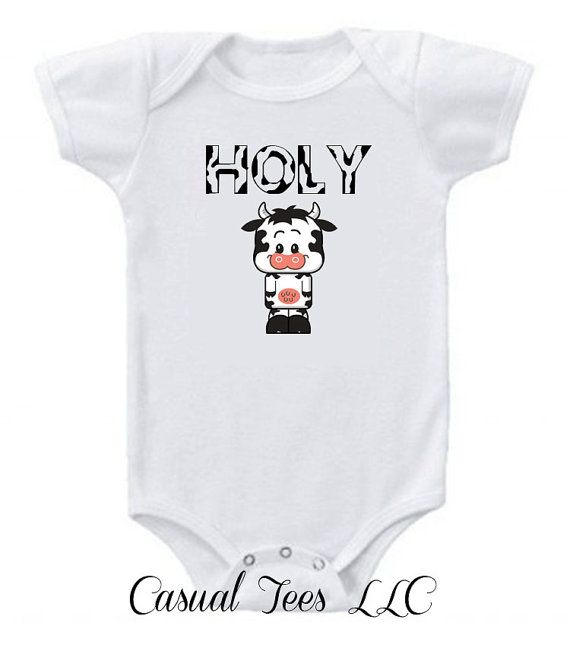24a0197ea Holy Cow Funny Onesie Bodysuit for the Baby by CasualTeeCo on Etsy, $14.00