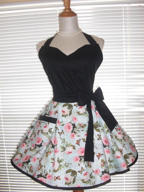 Fifties Style Sweetheart Retro Apron Pink by ArtsyCraftsyBoutique
