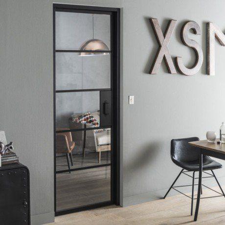 Bloc Porte Laquee Noir Chloe Artens H 204 X L 83 Cm Bloc Porte Salon Industriel Portes Vitrees Interieures