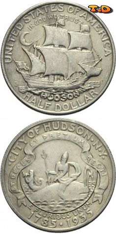N T ½ Dollar Hudson Country United States Year 1935 Value Half 50 Cents 0 Usd 45 Eur Metal Silver 900 Weight 12 5 G Diameter 30 6 Mm