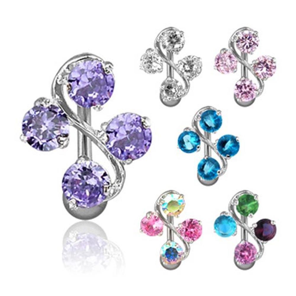 4 belly button piercing  Navel Belly Button Ring with Gem Vine   GA