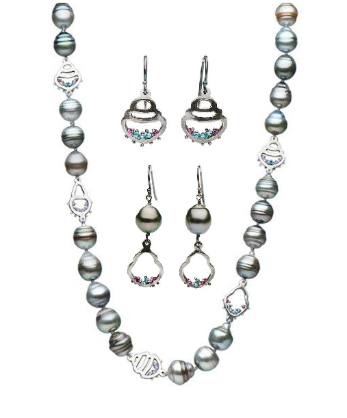 c471f559ae Tahitian pearls in Sterling Silver with tiny accents of ruby and green  diamonds. Pearl Earrings