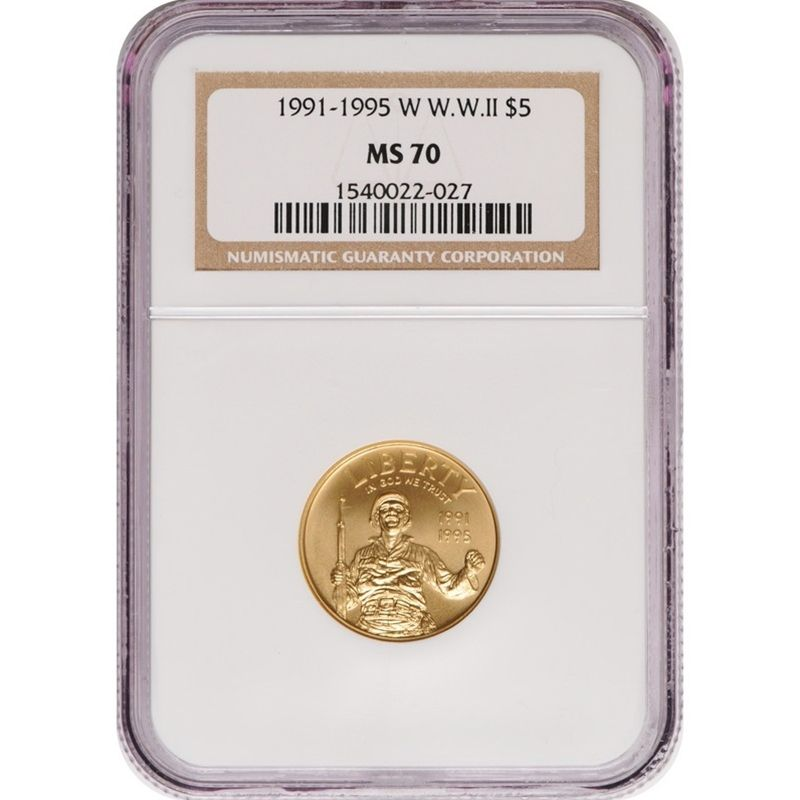 1991 1995 W W W Ii Gold Five Dollar Ms70 Ngc James Madison Gold