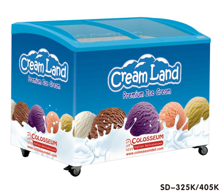 Sliding Glass Door Ice Cream Chest Display Freezer Display Ice Cream