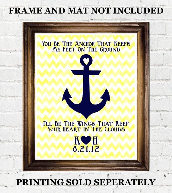 Personalized Anchor Printable Quote Navy Coast Guard Wife Girlfriend Gifts Military Present Ideas Yellow Ch Song Lyrics Art Wedding Song Lyrics Wedding Songs