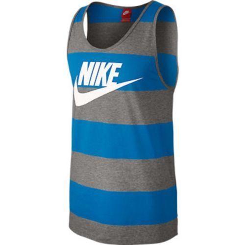 Men's Nike Glory Striped Tank Top Shirt Blue, Gray, White Size XL NWT #