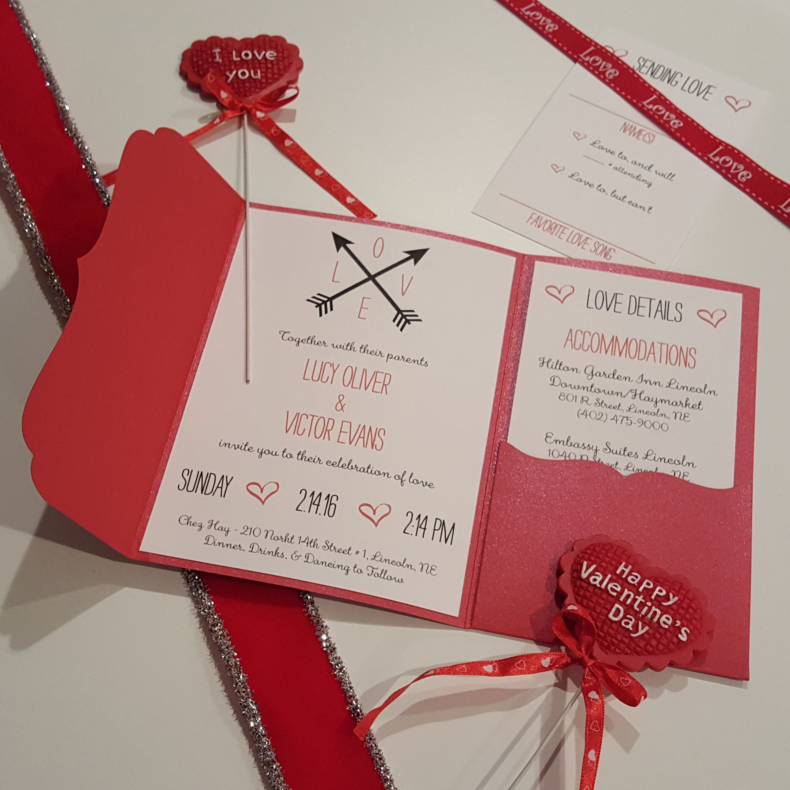 Ornate red pocket for this beautiful LOVE themed wedding invitation ...