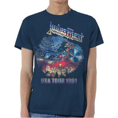 Judas Priest Men's Tee: Painkiller US Tour 91 Wholesale Ref:JPTEE12MN