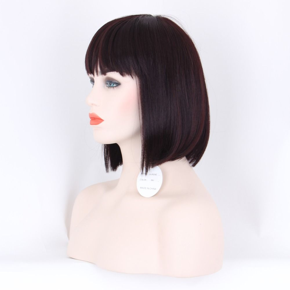 Aurica j bungundy red wine heat resistant synthetic hair women