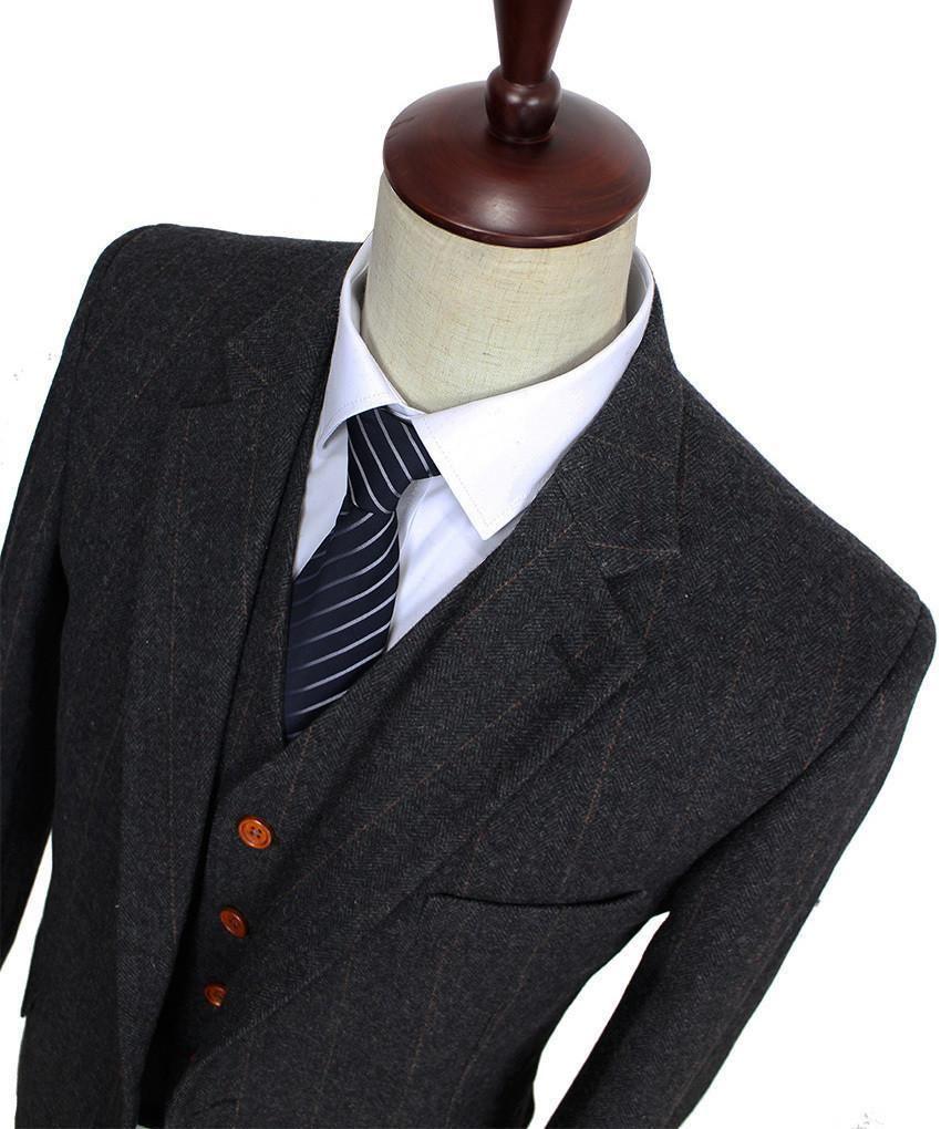 Men S Suit Herringbone Tweed Suit 3 Piece Suit Dark Grey Tweed Suits Wedding Suits Men Mens 3 Piece Suits