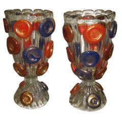 Rare Italian Pair of Vintage Venetian Murano Candy lamps