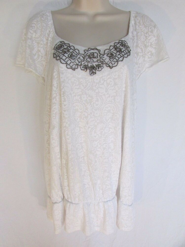 Embellished Top Size Xl White Sheer Lined Knit Beaded Stretch Hip Short Sleeve Fashion Clothing Shoes Accessories Womensclot Embellished Top Tops Fashion