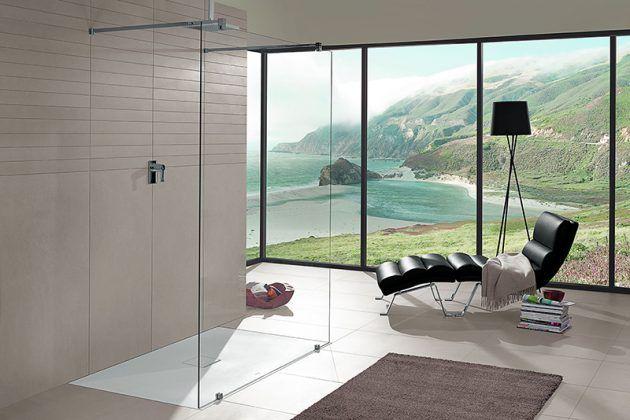 ausgefallenes bad - fliesen - offene dusche - glaswand - panorama, Hause ideen
