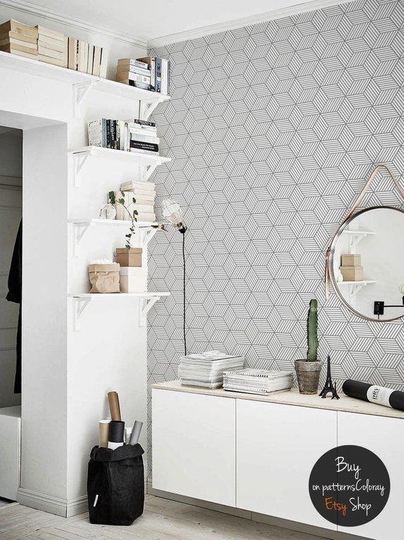 Gray Geometric Cubes Pattern Removable Wallpaper Scandinavian Style 65 Cube Pattern Peelable Wallpaper White Home Decor