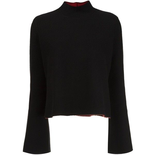 Proenza Schouler flared sleeve turtleneck jumper (£1,630) ❤ liked on Polyvore featuring tops, sweaters, black, turtle neck jumper, polo neck sweater, jumpers sweaters, proenza schouler top and flared sleeve top