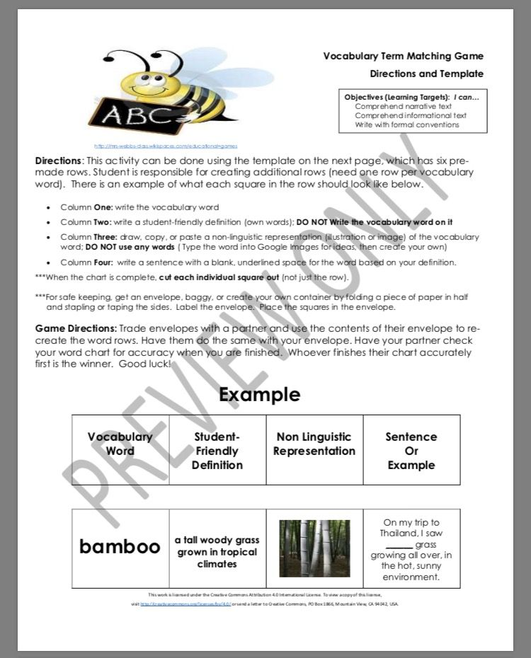 Middle School ELA Vocabulary Matching Game Directions and Template ...