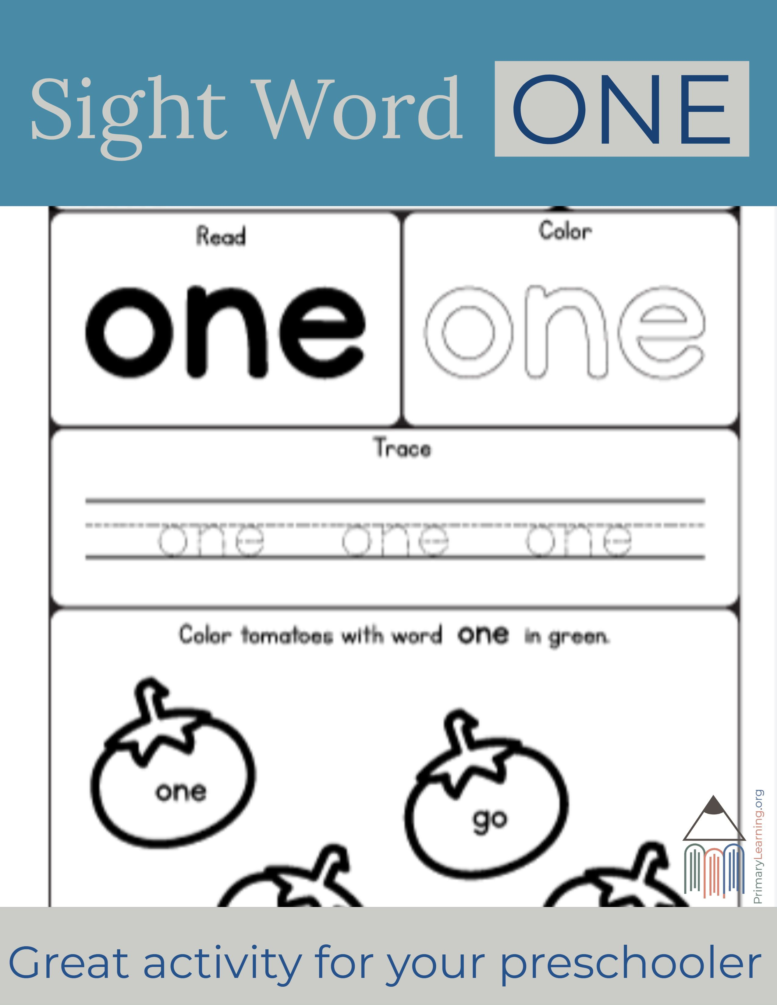Sight Word One Worksheet Primarylearning Org Kindergarten Worksheets Sight Words Sight Words Sight Word Worksheets
