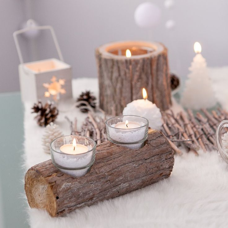 Centre de table photophore bûche | Deco noel, Decoration noel et Deco table noel