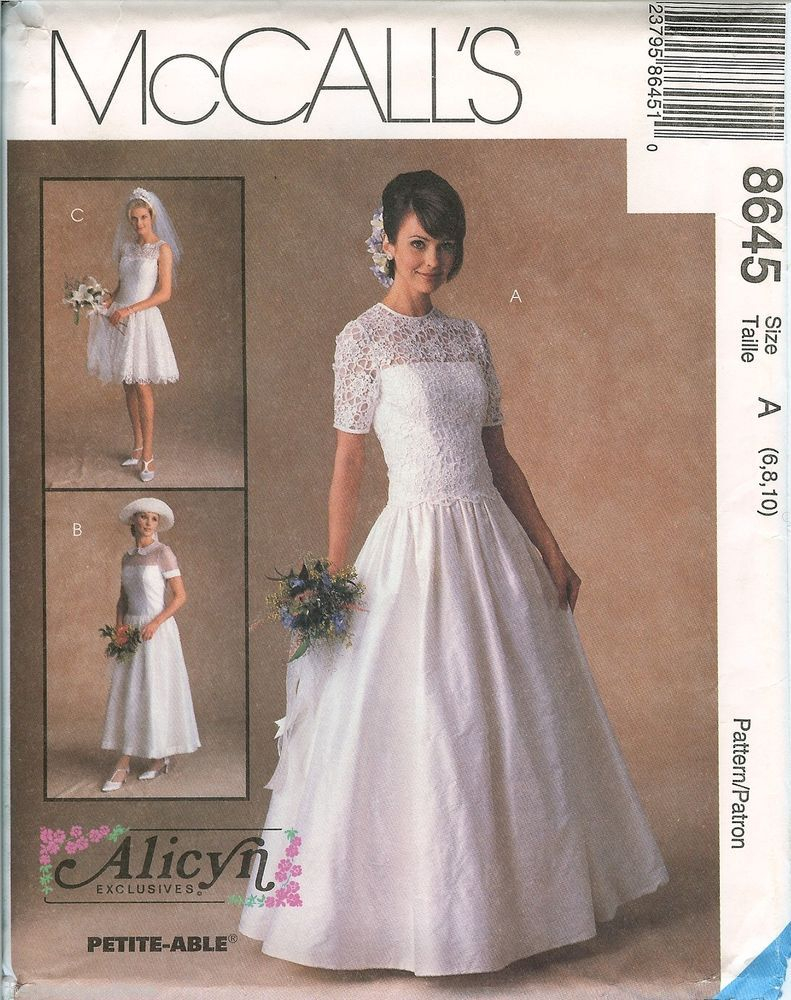 Wedding dress patterns with sleeves  McCalls  Alicyn Bridal Wedding Gown Dress sewing pattern UNCUT