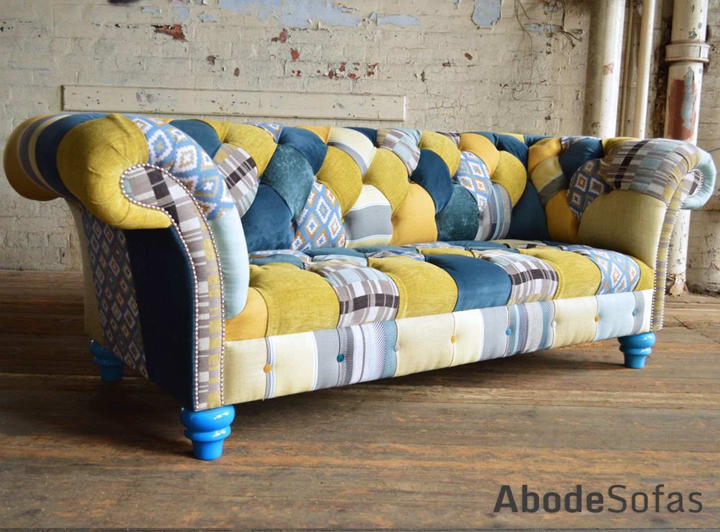 Canapé Chesterfield Patchwork Modern British Handmade Bold Bright Hues Of Blue And Yellow