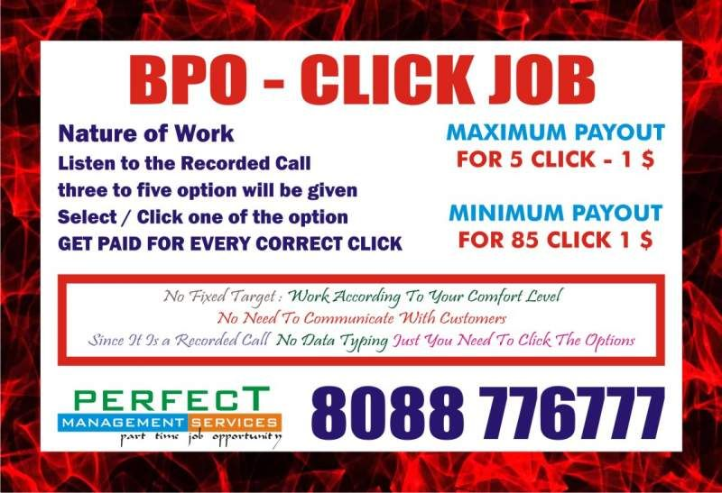 Home based BPO Quality Analyst Job | Income Rs  18,000 /- | Clicking