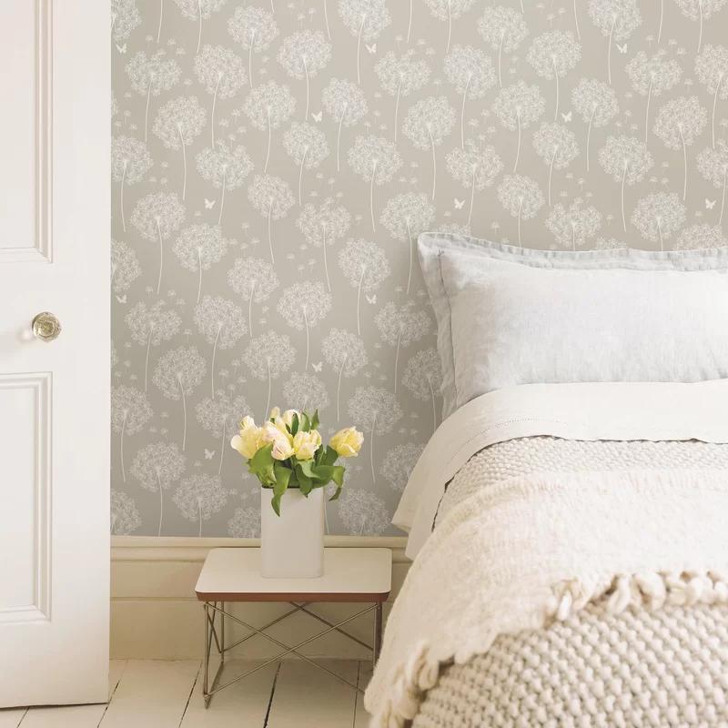 Wallpops Dandelion 18 X 20 5 Gray Wallpaper Roll Reviews Wayfair Patterned Wallpaper Bedroom Grey Wallpaper Neutral Wallpaper