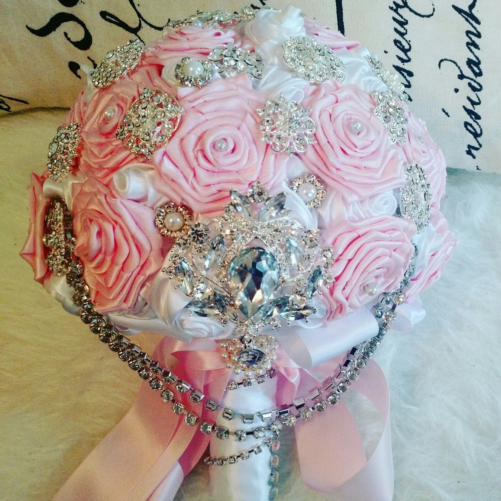 Handmade Glam Pink And White Satin Ribbon Rose Brooch Bouquet