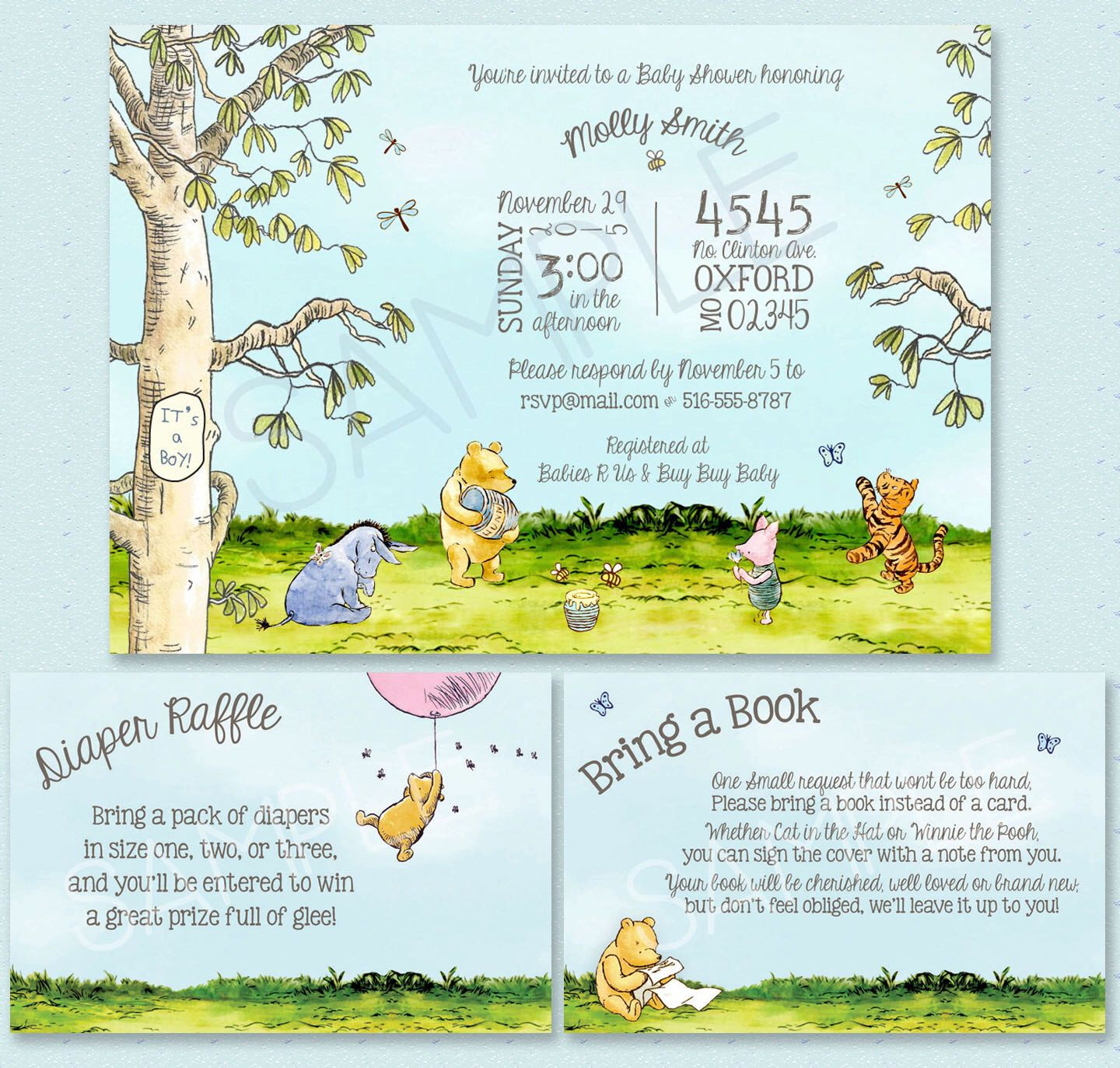 Classic Winnie-the-Pooh Baby Shower Invitation - Classic Pooh Party ...