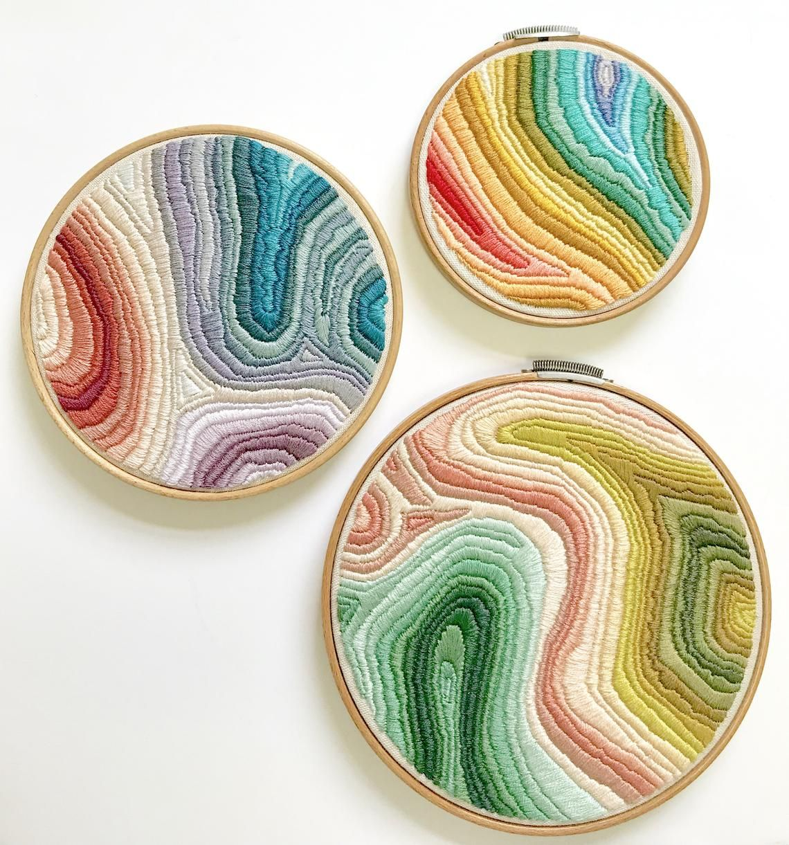 Colorful Embroidery Pattern. Digital Download PDF. Marbled Art. DIY Craft Project. Rainbow Art. Easy Embroidery Pattern. Boho Decor #embroiderypatternsbeginner