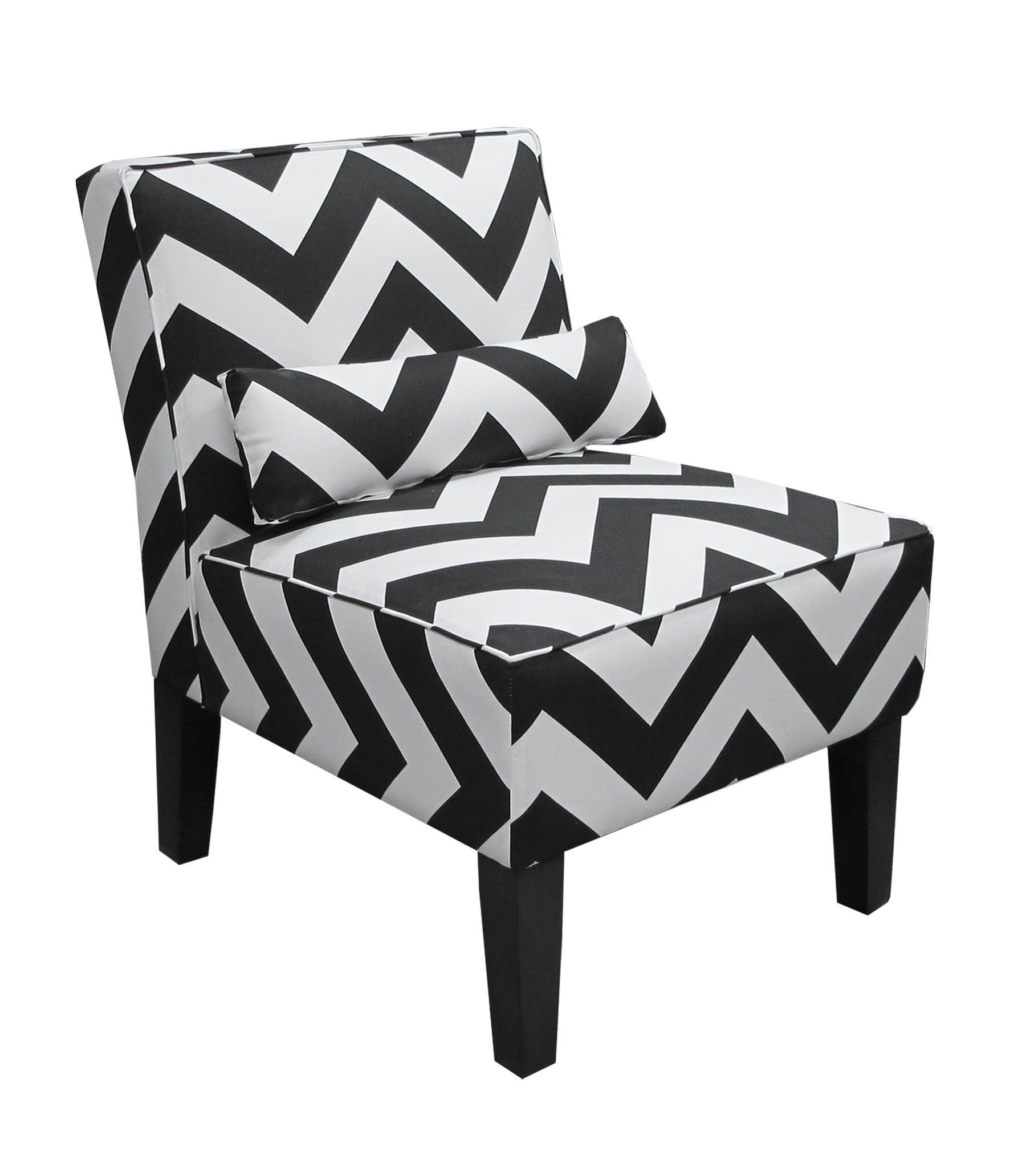 Astonishing Skyline Furniture Armless Chair In Zig Zag Black And White Short Links Chair Design For Home Short Linksinfo