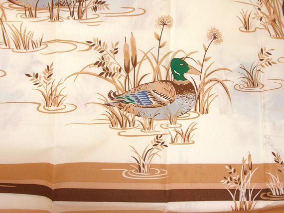 Vintage Mallard Duck And Cattails Shower Curtain NIB
