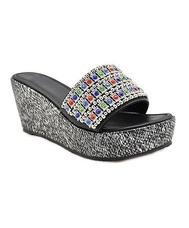 Another great find on #zulily! Black Kehei Jewel Leather Platform Slide #zulilyfinds