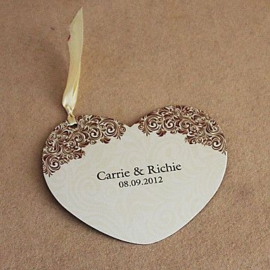 Personalized Heart Shaped Wedding Invitation With Yellow Ribbon ...