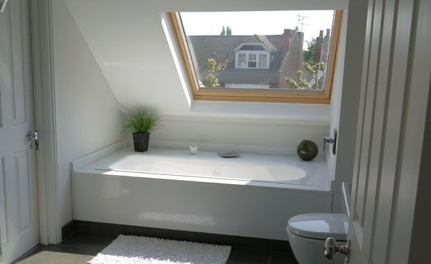 image result for sloped roof bathtub | ideas for the attic