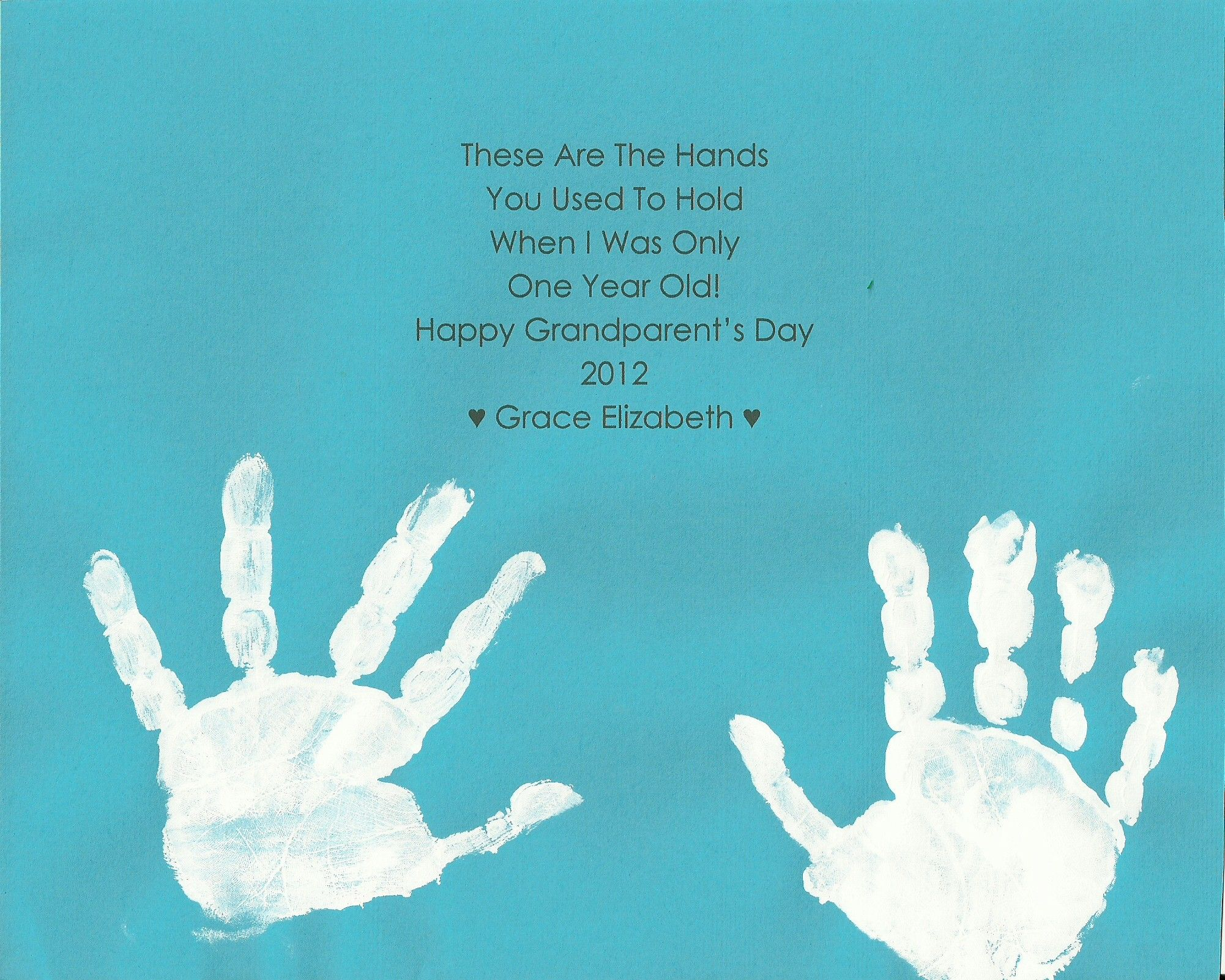 Valentines Day Quotes For Grandma: Grandparent's Day Poem & Hand Prints