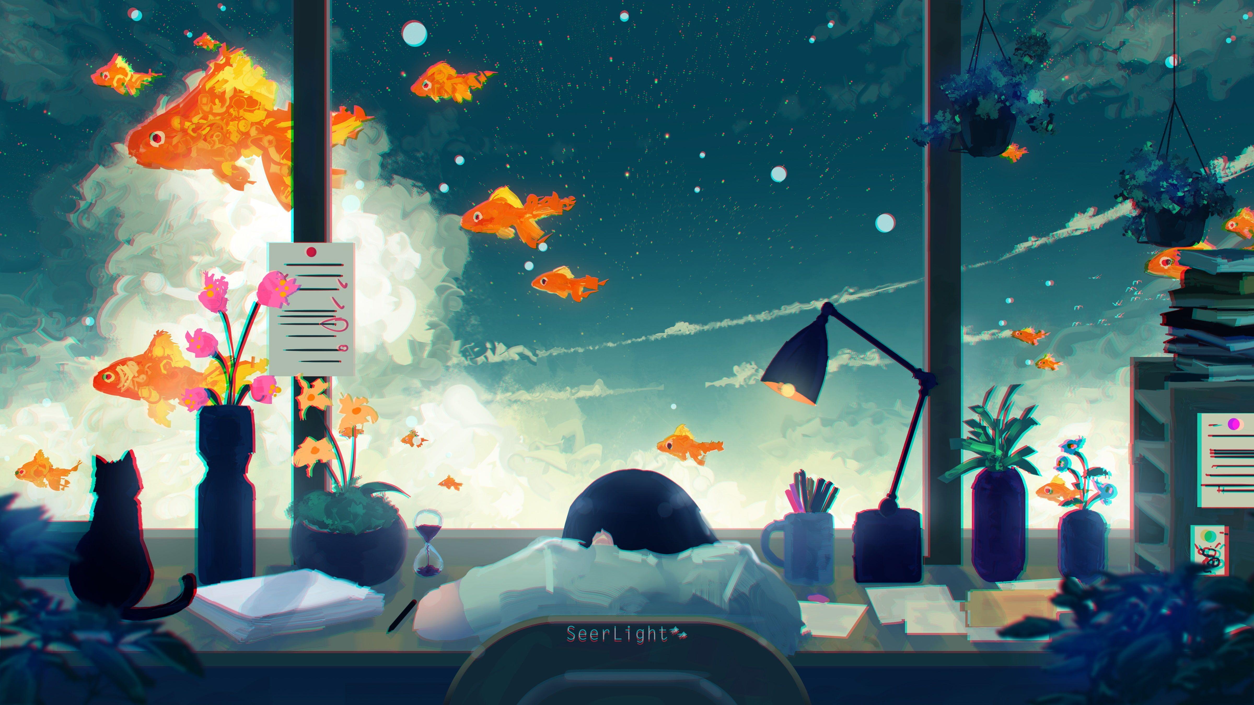 anime girls digital art cat fish fantasy art SeerLight