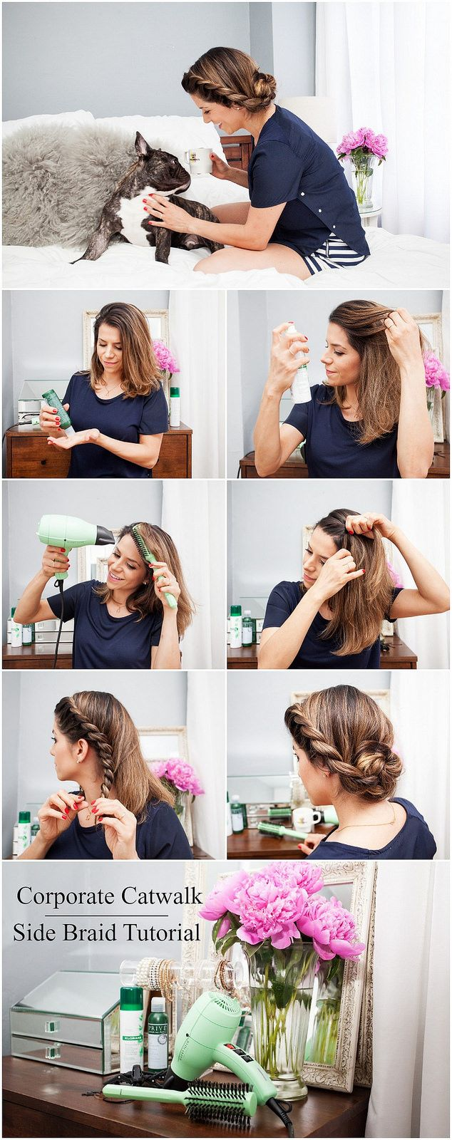 A simple yet gorgeous side braid tutorial using the little green gem