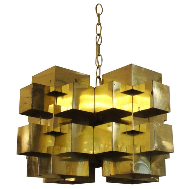Curtis Jere Brass Cubist Chandelier | Chandeliers, Lights and Mid ...