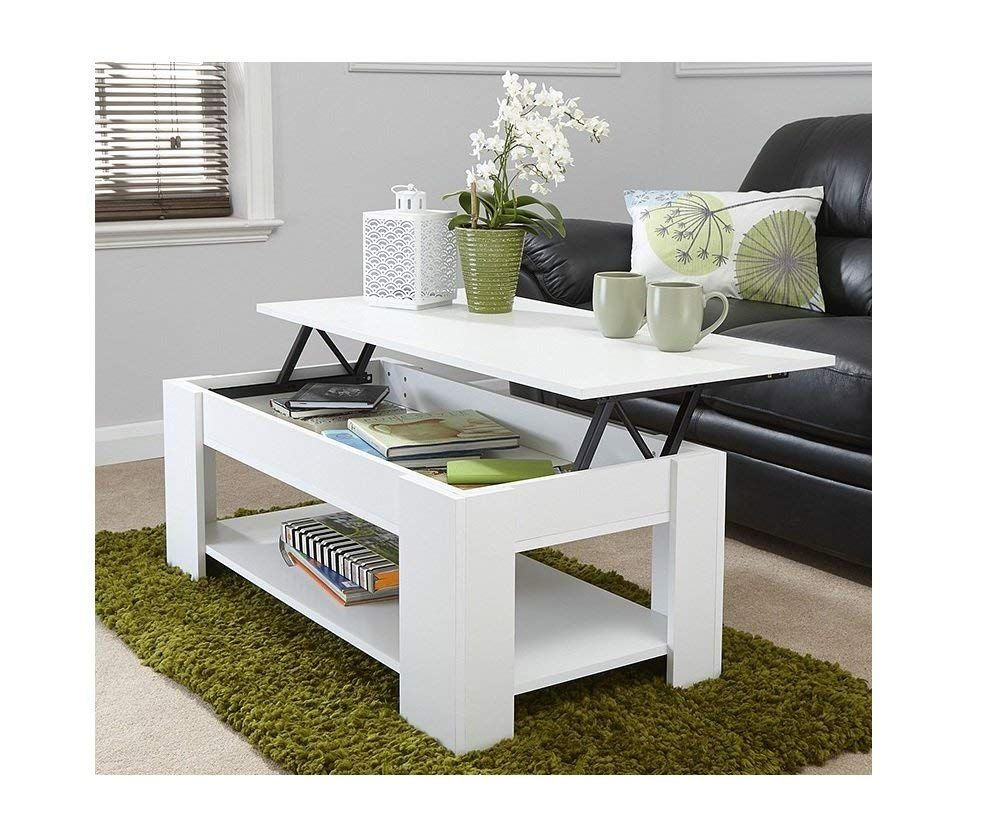 Modern Contemporary Exclusive White Lift Up Coffee Table Living