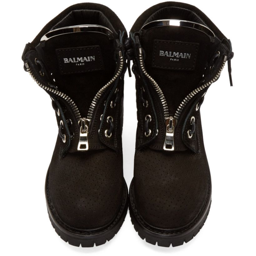 Balmain Black Suede Perforated Tundra Ranger Boots Black