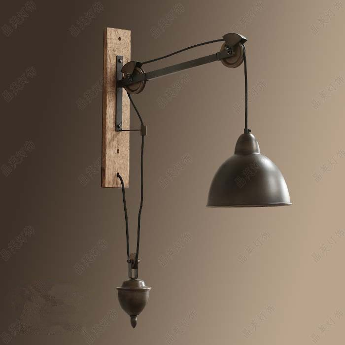 Aliexpress buy loft retro lusent iron spindle pulley wall lamp aliexpress buy loft retro lusent iron spindle pulley wall lamp bedroom living room bar indoor wall lights vintage rustic industrial lighting from aloadofball Image collections
