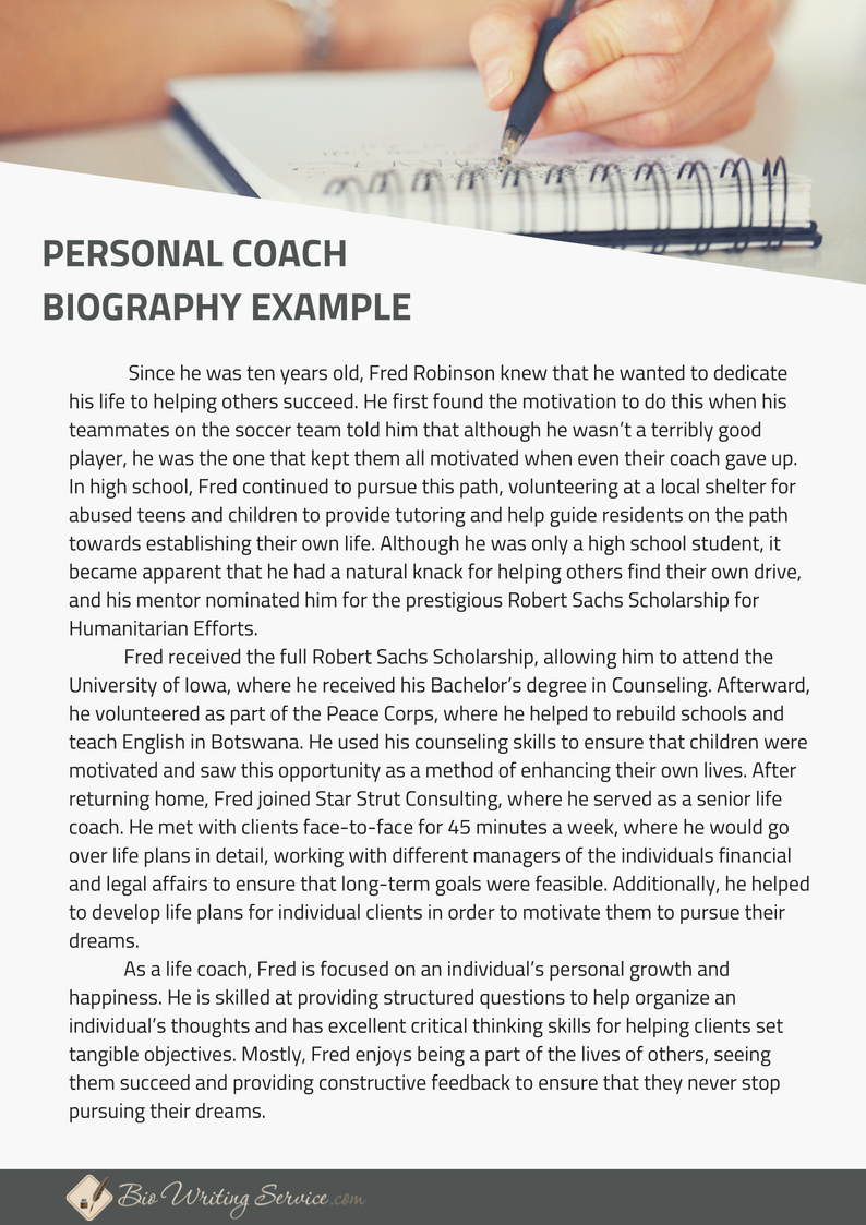Professional Personal Coach Biography Example That Can Give You The Resource Need For Writi Template Of Journalism Statements Statement
