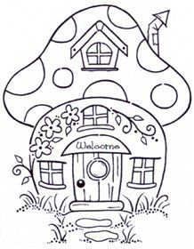 Woodware Mushroom House Coloring Books Adult Coloring Pages