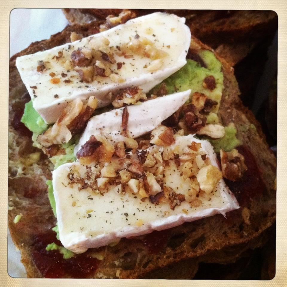 Today's sandwich: Avocado, Brie, Cranberry and roasted walnut...the question is to toast or to not toast...;)