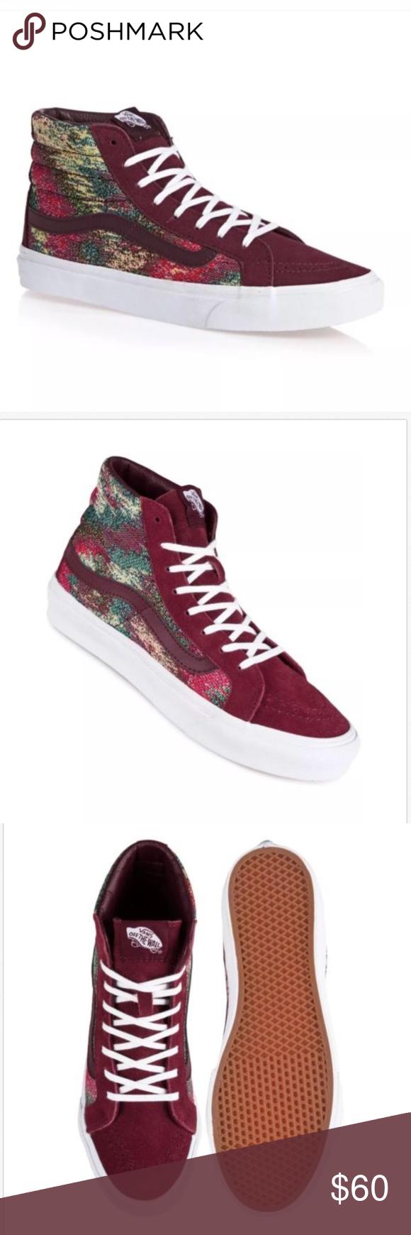 99d0e7b9f5 Vans Sk8 Hi Slim Italian Weave Port Royale Red Vans Sk8 Hi Slim Italian  Weave Port Royale Red Shoes Size Mens 7.0 Women 8.5 Brand New In Box Vans  Shoes ...