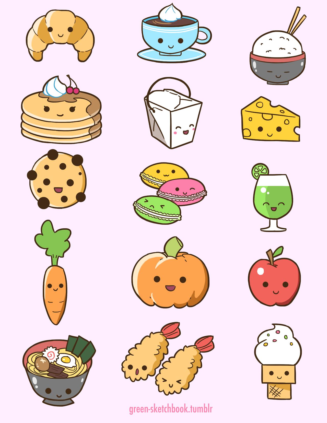 Рисунки для срисовки легкие и красивые няшные еда