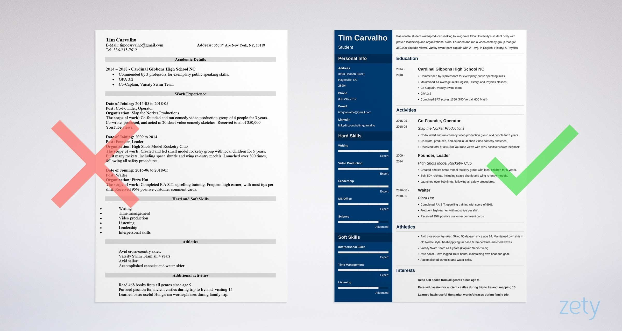 College resume template for high school students 2020 in
