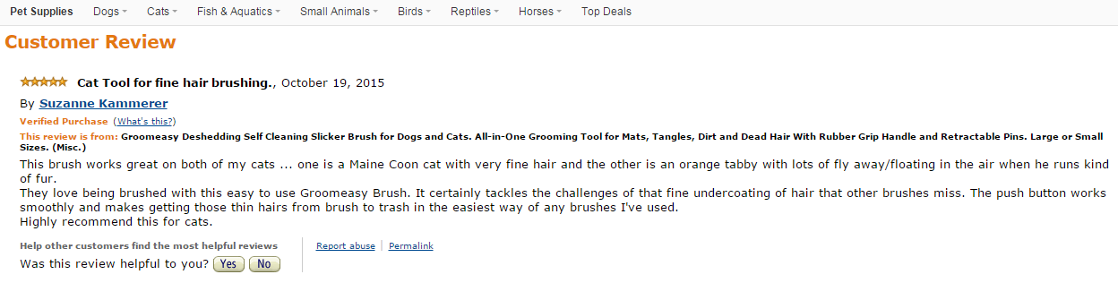 Getting rid of cat hair the quick and gentle way. Amazon customer reviews.