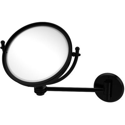Allied Brass Wall Mounted Make-Up 2X Magnification Mirror with Dotted Detail Finish: Matte Black