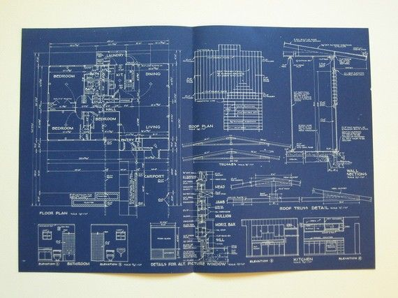Blueprint 1960s Vintage Architectural Plans Modern House Blueprints Modern House Plans Architecture Plan